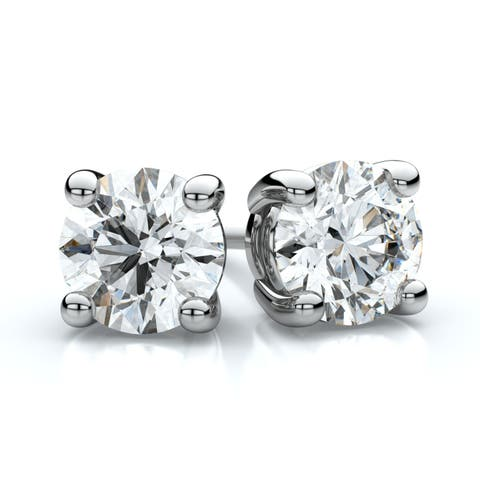 18k White Gold 4-prong Round Diamond Stud Earrings 2ctw (6.5mm Ea), K Color, I1-i2 Clarity