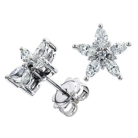 Diamond Marquise Star Earring Studs In 14k White Gold