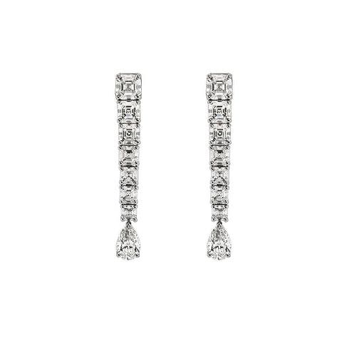 Pear Shape And Asscher Cut Diamond Drop Earrings In Platinum