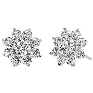 Prong-set Floral Inspired Earring Jacket In 14k White Gold (2ctw)