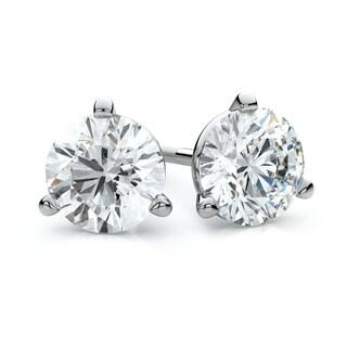 Platinum 3-prong Martini Round Diamond Stud Earrings 1ctw (5.0mm Ea), K-m Color, Si Clarity