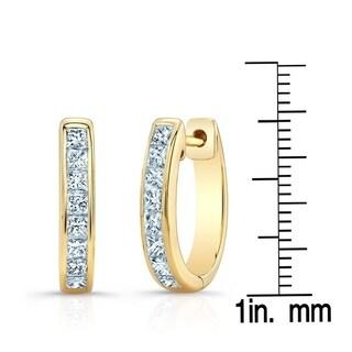Diamond Princess Cut Channel Hinged Hoop Earrings In 14k Yellow Gold (1 Ctw)