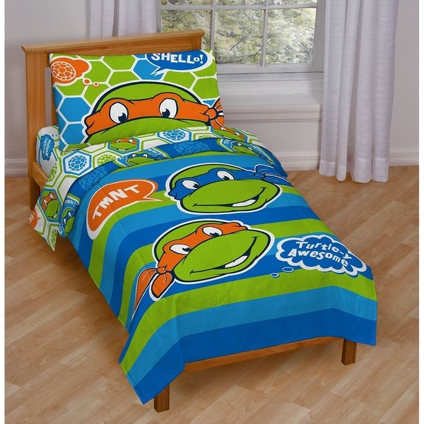 nickelodeon teenage mutant ninja turtles turtley awesome toddler 4 - Ninja Turtles Toddler Bedding Set