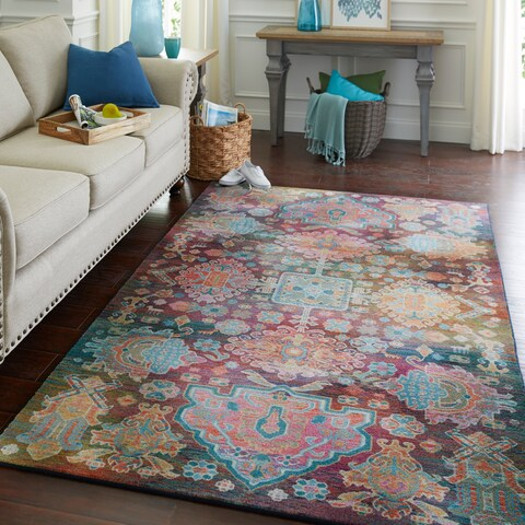 Silver Orchid Hinding Geometric Medallion Area Rug - 5' x 8'