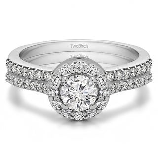 TwoBirch Bridal Set (Two Rings) in 10k Gold and Cubic Zirconia (1.08tw ) - Clear