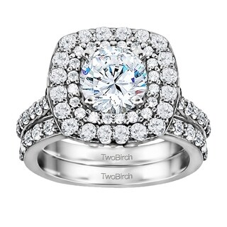 TwoBirch Bridal Set (Two Rings) in 10k Gold and Cubic Zirconia (1.14tw ) - Clear