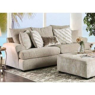 Furniture of America Athena Transitional Beige Plush Sofa