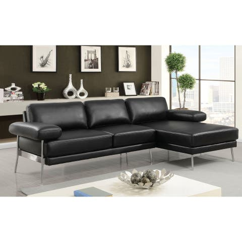 Furniture of America Ella Contemporary Grey Faux Leather Sectional