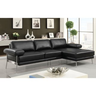 Furniture of America Ella Modern Grey Faux Leather Sectional
