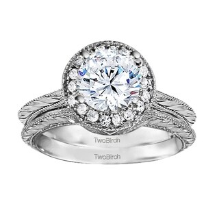 TwoBirch Bridal Set (Two Rings) in 10k Gold and Cubic Zirconia (0.89tw ) - Clear