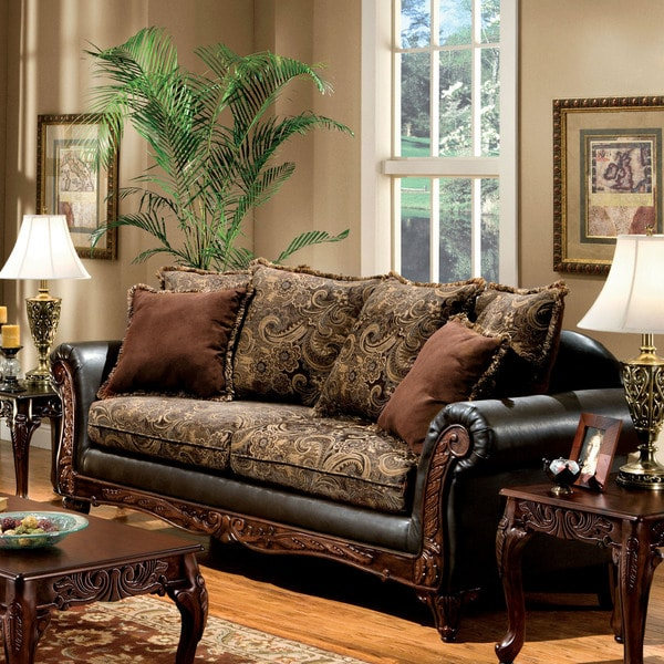 Shop Furniture Of America Ladezma Traditional Espresso Leather And
