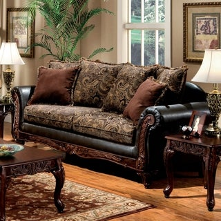 Furniture of America Ladezma Traditional Espresso Floral Carved Sofa