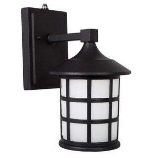 Maxxima LED Outdoor Wall Light, Black Metal Cage w/ Frosted Glass, Photocell Sensor, 600 Lumens