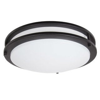 Maxxima 14 in. Black LED Ceiling Mount Fixture - Warm White, 1650 Lumens