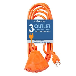 Maxxima 10 ft. Heavy Duty Extension Cord, 3-Outlets