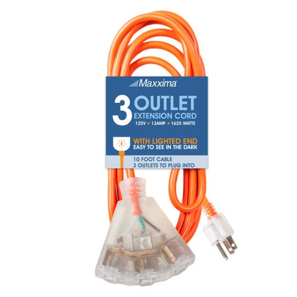 Maxxima 10 ft. Heavy Duty Extension Cord, 3-Outlets, Lighted End