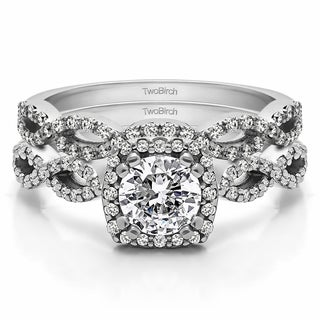 TwoBirch Bridal Set (Two Rings) in 10k Gold and Cubic Zirconia (1.18tw ) - Clear