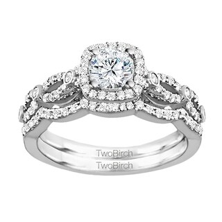 TwoBirch Bridal Set (Two Rings) in 10k Gold and Cubic Zirconia (1.05tw ) - Clear