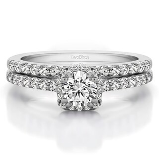 TwoBirch Bridal Set (Two Rings) in 10k Gold and Cubic Zirconia (1.02tw ) - Clear