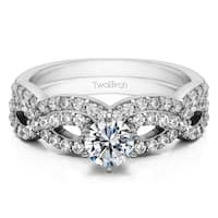 TwoBirch Bridal Set (Two Rings) in 10k Gold and Cubic Zirconia (1.24tw ) - Clear
