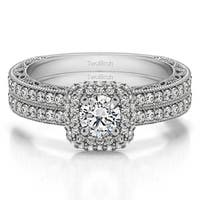 TwoBirch Bridal Set (Two Rings) in 14k Gold and Cubic Zirconia (1.34tw ) - Clear