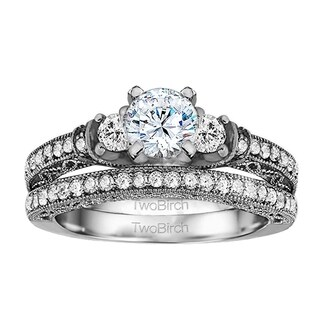 TwoBirch Bridal Set (Two Rings) in 14k Gold and Cubic Zirconia (2.1 tw) - Clear