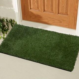 """Ottomanson Garden Collection Indoor/Outdoor Artificial Grass Rug Green Turf (20"""" X 30"""")"""