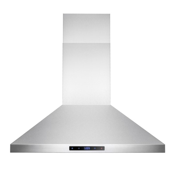 "AKDY RH0198 30"" Stainless Steel Island Mount Range Hood Touch Screen with Baffle Filters"