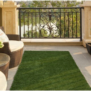 "Ottomanson Garden Grass Collection Indoor/Outdoor Artificial Solid Green Turf Runner Rug, (2'7"" X 6')"