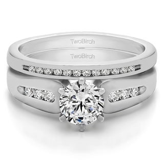 TwoBirch Bridal Set (Two Rings) in 10k Gold and Cubic Zirconia (0.75tw ) - Clear