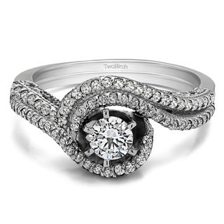TwoBirch Bridal Set (Two Rings) in 10k Gold and Cubic Zirconia (0.63tw ) - Clear
