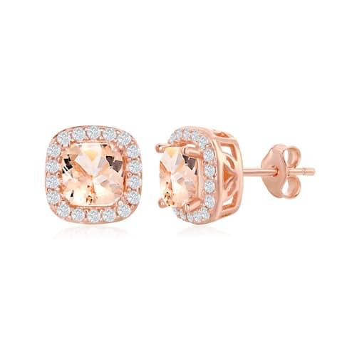 La Preciosa Stunning Sterling Silver Rose Gold Plated Princess Cut or Round Morganite CZ w/White CZ Border Earrings