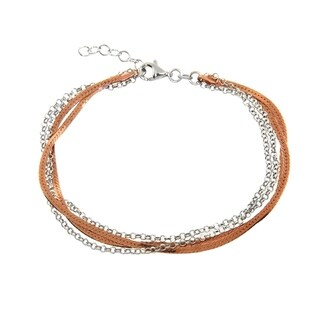 Eternally Haute Italian Two Toned 14k Rose Gold plated Solid Sterling Silver Diamond Cut 4 Strand Bracelet