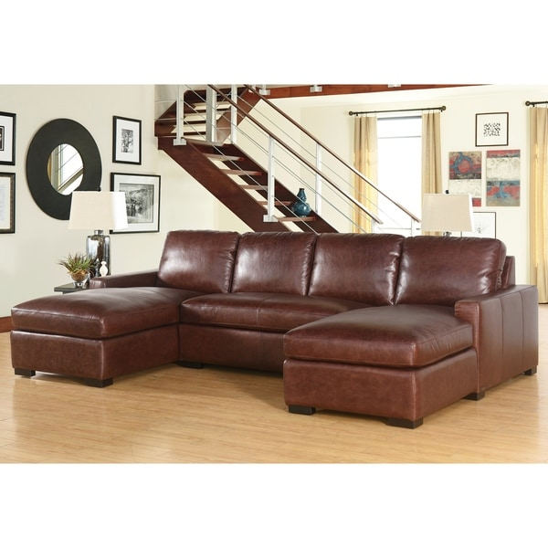 Abbyson Elen Top Grain Wax Pull-up Leather 3 Piece Sectional Set