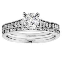 TwoBirch Bridal Set (Two Rings) in 10k Gold set with Moissanite (1.73tw )
