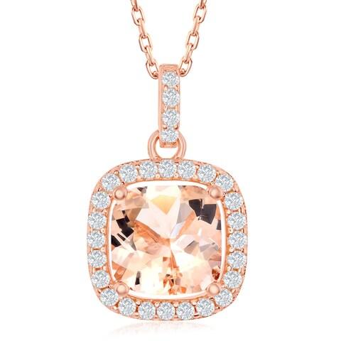 La Preciosa Sterling Silver Rose Gold Plated Princess Cut or Four-Prong Round Morganite CZ w/White CZ Border Pendant Necklace