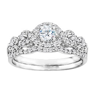 TwoBirch Bridal Set (Two Rings) in 10k Gold set with Moissanite (0.66tw )
