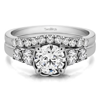 TwoBirch Bridal Set Two Rings In 10k Gold And Cubic Zirconia 1 71 Tw
