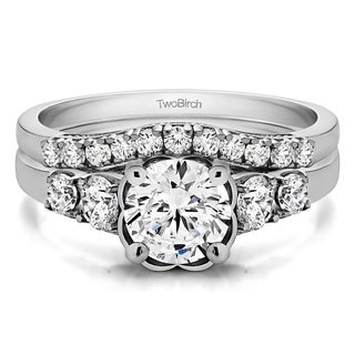 TwoBirch Bridal Set (Two Rings) in 10k Gold and Cubic Zirconia (1.71 tw) - Clear