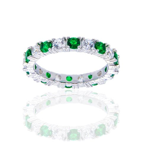 Sterling Silver Created Emerald and Cubic Zirconia Eternity Band Ring