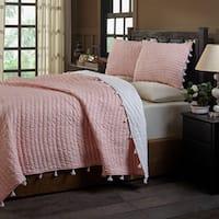 Basia Peach Polka Dot & Pom Pom Tassle Cotton Quilt Set