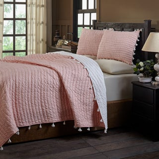 Basia Peach Polka Dot & Pom Pom Tassle Cotton Quilt Set