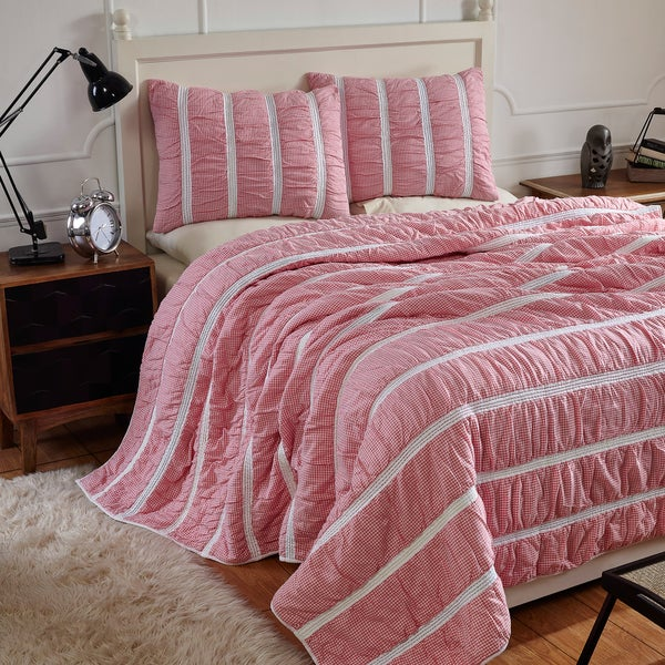 Abrielle Cotton Gingham Quilt Set