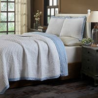 Briten Blue and White Stripe Cotton Quilt Set