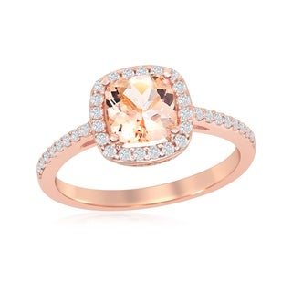 La Preciosa Sterling Silver Rose Gold Plated Princess-Cut Morganite Cubic Zirconia w/ White Cubic Zirconia Ring