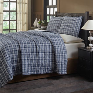 Roy Blue Plaid Cotton Quilt Set