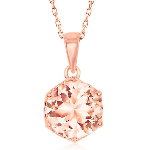 La Preciosa Sterling Silver Rose Gold Plated Six- Prong 8mm Round OR Eight- Prong Pear-Shaped Morganite CZ Pendant Necklace