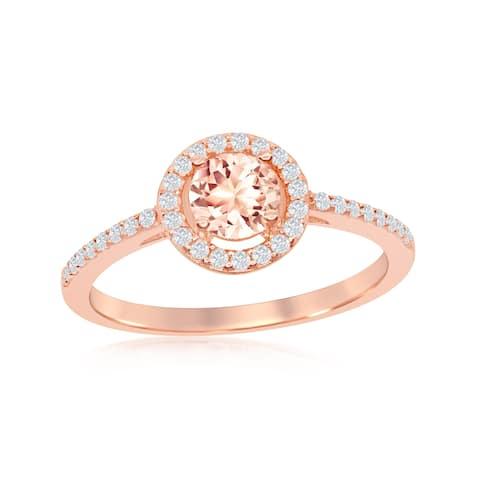 La Preciosa Sterling Silver Rose Gold Plated Round Morganite Cubic Zirconia w/ White CZ Border Ring