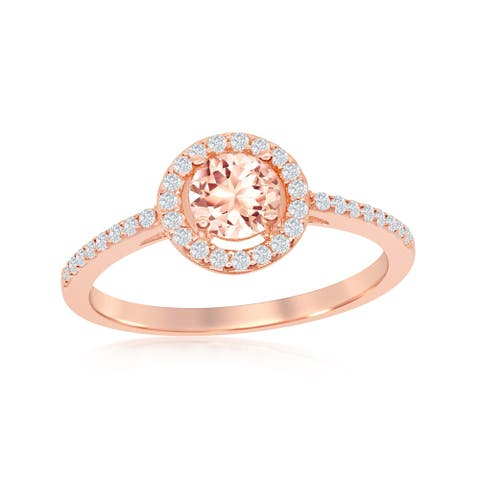 La Preciosa Sterling Silver Rose Gold Plated Round Morganite Cubic Zirconia w/ White CZ Border Ring