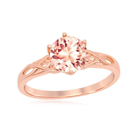 La Preciosa Sterling Silver Rose Gold Plated Six-Prong 7mm Round Morganite CZ w/ Designed Band Ring